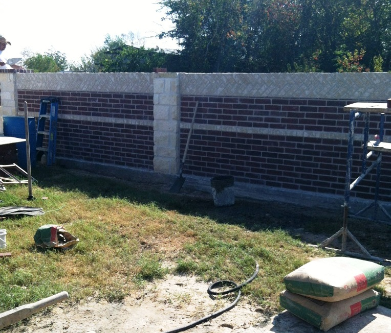 brick columns fence building