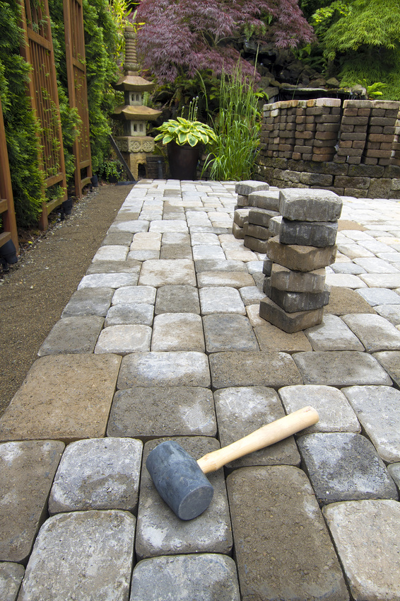 Adding Pavers To Concrete Patio Decorate Laying Garden Pavers Patio