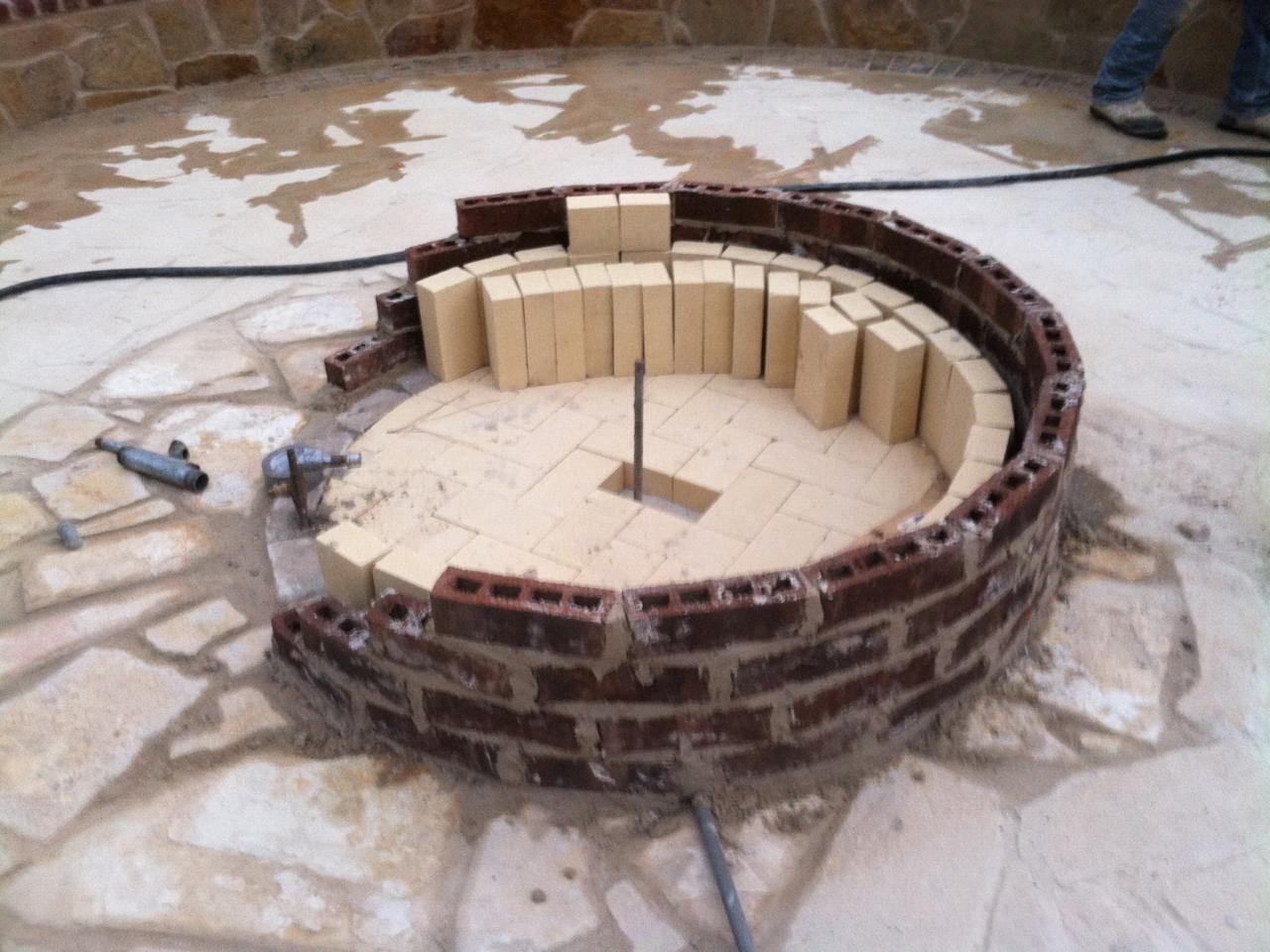 brick fireplace pit
