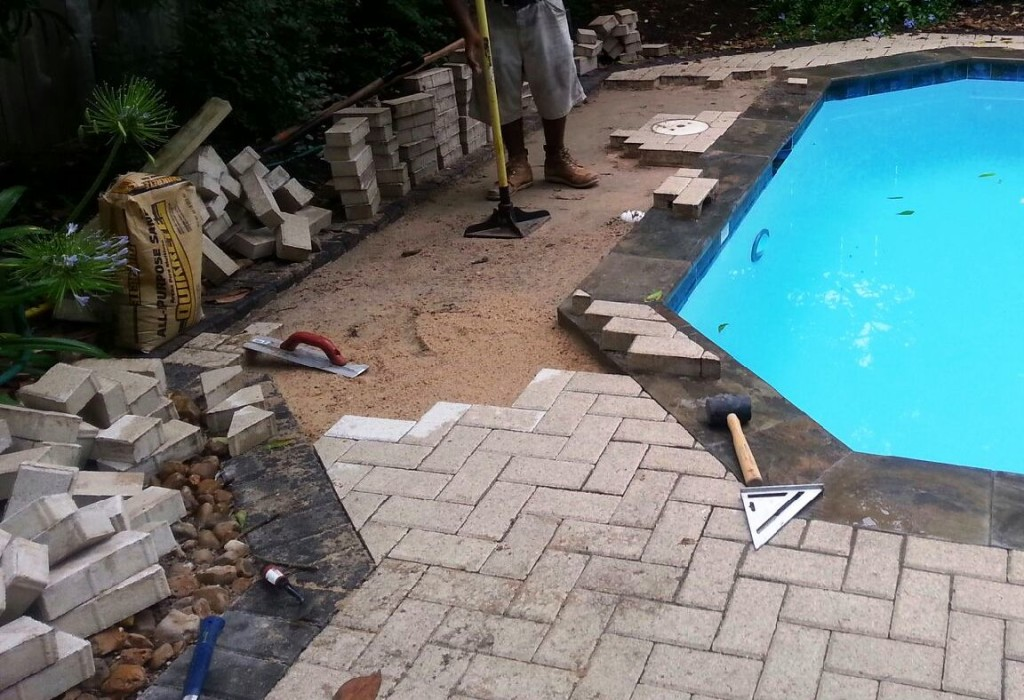 Pool pavers repair for Best pavers for pool deck