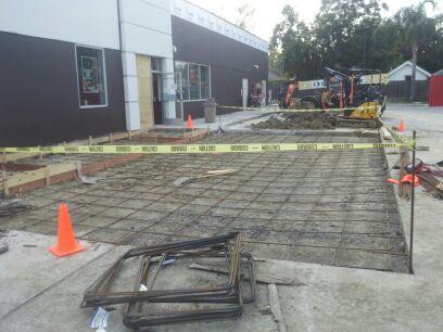 concrete parking lot drive through area at restaurant