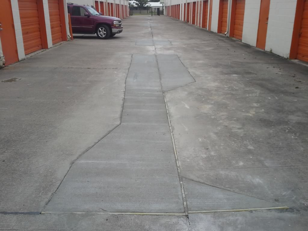 image of concrete repairs made at a storage facility