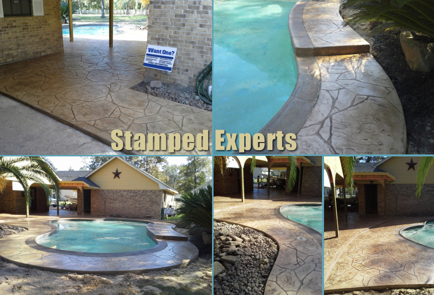 pool deck stamped concrete