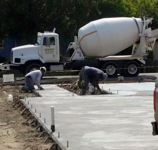delivery truck for concrete foundation pour