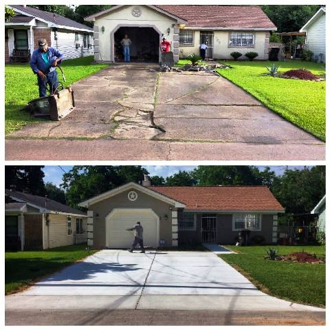 driveway repair before and after images